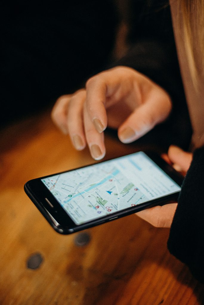 Person using maps on their phone